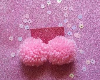baby pink pompom sterling silver earrings