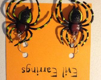 Halloween Earrings Halloween Costume Earrings Halloween Spider Earrings Creepy Spider Earrings Halloween Costume