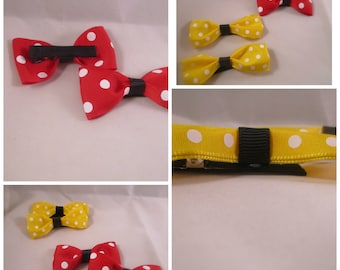 Polka Dot Bows, Polka Dot Hair Clips, Red Bows, Yellow Bows
