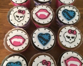 12 x Handmade Fondant Monster High cupcake toppers