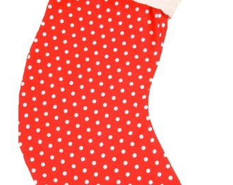 Red & White Dot Personalised Christmas Stocking