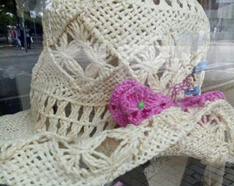 raffia hat with butterfly
