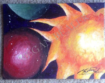 Ethereal Original Painting Artwork Acrylic Space Sun Moon Stars Art