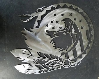 Shield with Eagle and Feathers metal wall art