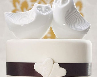 White Porcelain Owls Wedding Cake Topper Top Birds