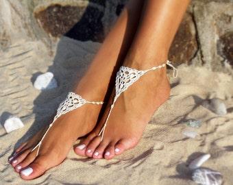 Ivory Bridal Crochet barefoot sandals Bridal foot jewelry Beach wedding Barefoot Sandals Bridal shoes Footless sandals Thongs Beach wedding