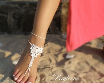 Wedding White Crochet Barefoot Sandals,Foot Jewelry,Beach wedding shoes,Bridal Sandals, White Womens Shoes