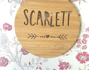 Personalised Wooden Wall / Door Hanging - Arrow-Heart-wall hanging-art-kids door sign-custom-kids gift-baby gift-lasercut-plaque