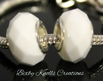 White Glass Faceted Large Hole Bead for European Style Charm Bracelets