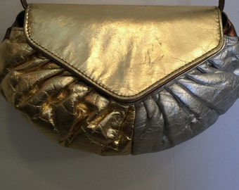 80's quilted leather metallic crossbody