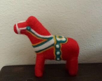Felted Swedish Dala Horse