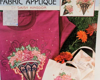 Daisy Kingdom No Sew Fabric Applique, 6385 Chrysanthemum, Vintage floral