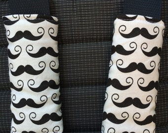 Covers straps stroller / car seat / MOUSTACHES black on white /protection neck and shoulders / birth gift