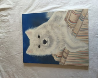 White Dog Painting by W. BQO.