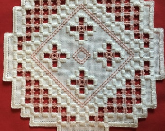 Rose on White hardanger