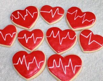 EKG, EKG Cookies, Nurse, Doctor, Nurse's Day, Medical, Heart Cookies, Hospital, Sugar Cookies