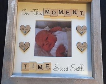 Handmade New Baby/Christening Scrabble Quote Frame