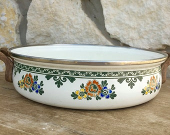 Asta German Enamelware Floral design rounded Casserole Dish.