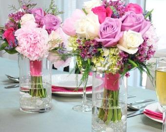 Bridesmaid Keepsake Reception Bouquet Vases - Bridesmaids Vase - Bouquet Vases - Personalized Vases - Centerpiece Vase - Engraved Vase