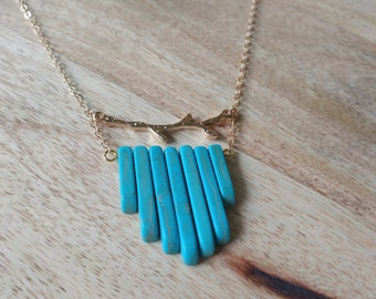 Howlite Turquoise and Gold Branch Necklace