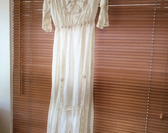 Vintage Cotton  Edwardian Dress 1915 Embtoidery and Crochet