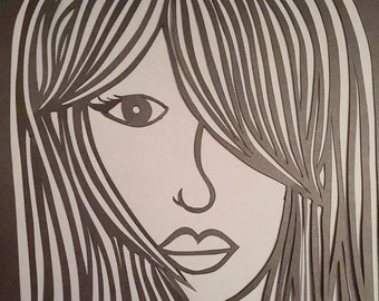 Black and Grey Female Face Papercut