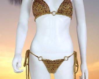 Tan Color, hand made crochet bikini with gold sequins.