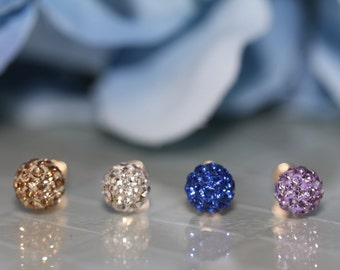 14K Yellow Gold Colors Cubic Zirconia Ball Stud Screw-Back Earrings (~6mm) #S91300Valentines Gift