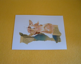Cat watercolor collage print