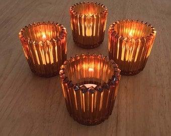 Burnt Orange Tea light Glass Candle Holders