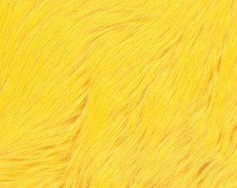 Shaggy Faux Fur / Yellow Fabric by the yard (Z2)