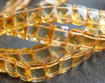 AA+ Citrine double drilled rectangles, 6x8mm, 20cm string, 33 beads