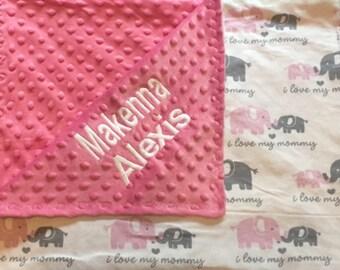 Personalized elephant minky blanket, Baby Gift, Nursery Blanket, Toddler Bedding, Nursery Blanket, Crib Bedding, Baby girl