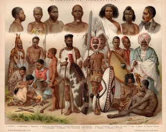 Antique African Culture Lithograph - Antique African People Print from 1890