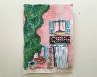 Lil Pink House Watercolor Print