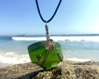 Tumbled Large Green Sea Glass Wire Wrap Necklace