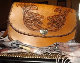 Large Leather Hand Tooled Scoop style Clutch Purse
