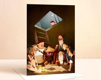 Secret Treasure Card | Birthday Card | Kids Birthday | Pirate Card | Greeting Cards | Nursery Art | Childrens Art | Childrens Card