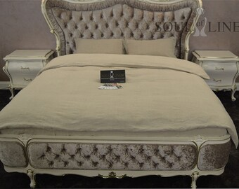 "Linen bedding set in natural linen colour ""STONE"""