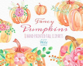 Watercolor Pumpkins. Fancy Fall Autumn Clipart Set. Commercial Use. DIY, Hand Painted, Watercolour, Thanksgiving, Fall Leaves, Fall Foliage