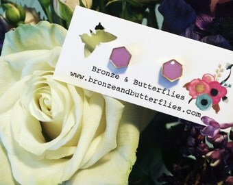 Bronze and Butterflies hexagon stud earrings