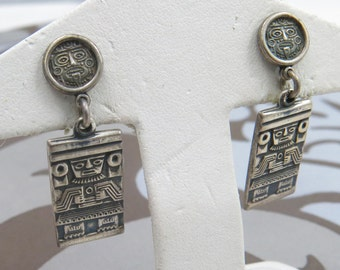 Vintage Sterling Silver Mexican Aztec Design Dangle Earrings
