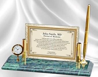Personalized Graduation Medical School Gift Poetry Mini Clock Marble Pen New Doctor Physician School Medicine Present Graduate