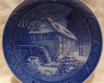 Vintage~Royal Copenhagen Christmas Collectors Plate~1976~VIBÆK WATER MILL~Christmas~Jul~Christmas Gift~Gift~Souvenir
