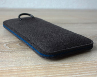 S7 ANTHRACITE/PETROL · Cell phone case for Samsung Galaxy S7 with pull tab sleeve case made of wool felt