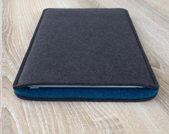 sleeve for iPad 2 / iPad 3 / iPad 4 · wool felt (100% wool) case cover · made in Germany · color: ANTHRACITE/PETROL