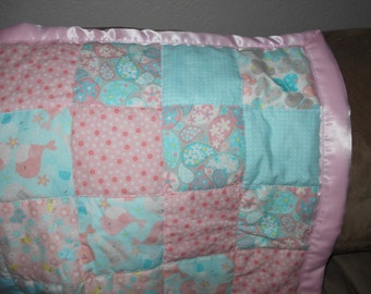 Baby girl pink birds quilted blanket