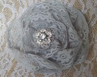 Grey Lace Flower Fascinator
