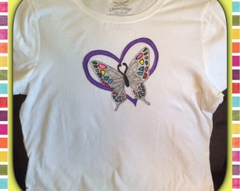 Butterfly Heart Top Hand Painted Glittery