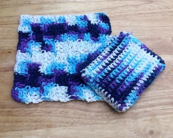 Crochet Cotton Washcloth And Scrubbie Set Blue And Purple